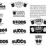 Progression of logo design for Sudds Root Beer